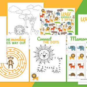 Wild Animals Kids' Activity Book
